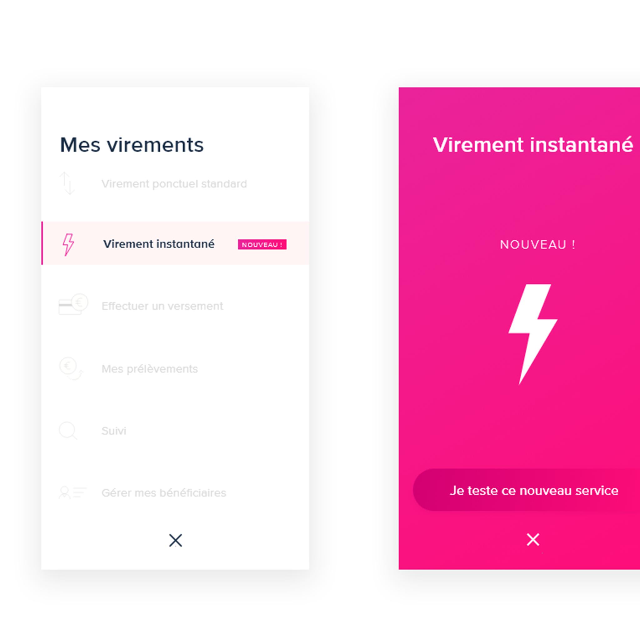 VIREMENT INSTANTANE / UI / UX